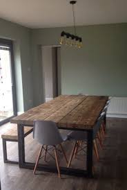 reclaimed industrial chic 10 12 seater solid wood and metal dining table cafe bar restaurant furniture steel and wood made to mere 473