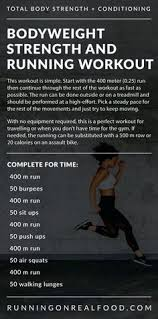 this no equipment bodyweight and running workout alternates running with bodyweight exercises such as burs