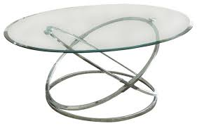 round chrome and glass coffee table