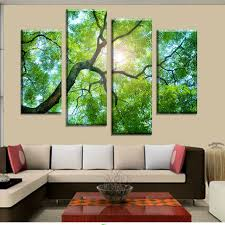 4 Panels Green Tree Painting Canvas Wall Art Picture Home Decoration Living  Room Canvas Print Modern