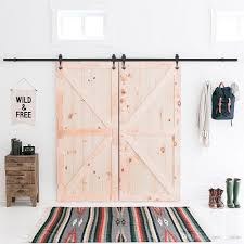 2018 5 16ft 60 192 inch industrial barn door hardware kit inside sliding iron track for double doors black new w style from sun shine 158 3 dhgate
