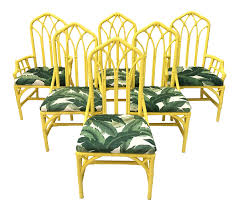 bamboo rattan chairs. Tropical Banana Leaf Print Bamboo Rattan Dining Chairs By Henry Link - Set Of 6 | Chairish T
