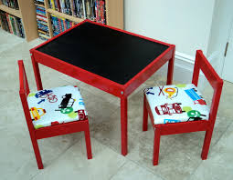 red painted wooden toddler table with upholstered chairs beautiful kids table and chairs ikea