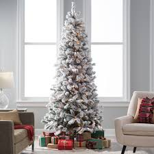 Classic Flocked Slim Pre-Lit Christmas Tree | Hayneedle
