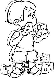 Kind Speelt Met Alfabetkubussen Van A Tot Z Kleurplaat Gratis