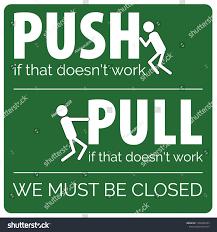 Push Pull Sticker Design Vector Door Sticker Sign Push Pull Stock Vector Royalty