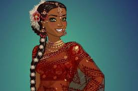 in a beautiful indian sari
