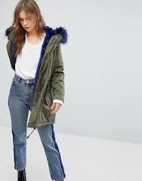women s bershka parka coat with faux fur hood and trim m13q7