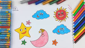 how to draw moon sun star for kids coloring pages for children art colors with colored markers