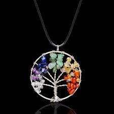 details about pendant necklace jewelry tree of life healing crystal wire wrap natural gemstone