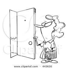 cartoon black and white outline design of a woman opening a door