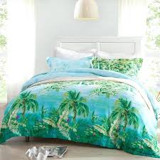 palm tree bedroom set forest green ocean blue and aqua palm tree print nautical tropical style
