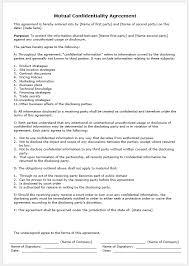 Contract Agreement Template Between Two Parties Free Printable Mutual Agreement Between Two Parties