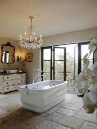 Bathroom:Luxury Spa Bathroom Decor With Rectangle White Bathub And  Beautiful Crystal Chandelier Ideas Luxury