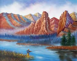 a day for fishing american landscape oil painting