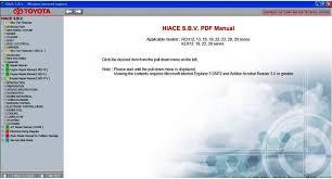 TOYOTA HIACE S.B.V 1995 - 2011 SERVICE & REPAIR INFORMATION MANUAL