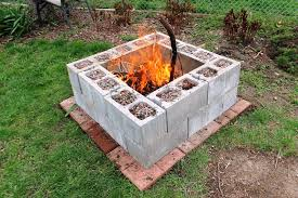 image of how to build a fire pit cinder block