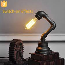 new arrival antique iron water pipe tube desk lamp metal steampunk industrial light e27 bulb lamp antique office lamp