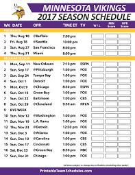 Minnesota Vikingsfootball Schedule 2017 Nfl Football Schedule 2017