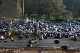 thousands of propane tanks after fire caused explosions