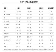 Mens Waders Size Chart Redington Sonic Pro Wader