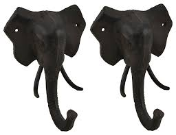 rustic brown cast iron elephant head wall hooks set of 2
