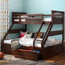 bedroom furniture photo. Barnley Single Over Queen Storage Bunkbed (Queen Bed Size, Dark Walnut Finish) Bedroom Furniture Photo N