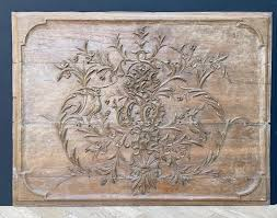 two antique english carved oak wall