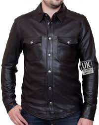 men s black leather shirt farrell slim fit