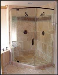 Corner shower stall with tile and glass Tile Shower Pinterest