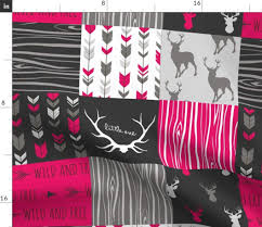 Sugar Pine Design Fabric Spoonflower Quilt Top Fabric Fuchsia Deer Girl Magenta Cheater Quilt Whole Cloth Panel By Sugarpinedesign Printed On Fleece Fabric By The Yard