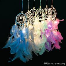dream catcher with feather beads led light hanging decor dreamcatcher net car hanging ornament home wedding decor pendant theme party decoration theme party