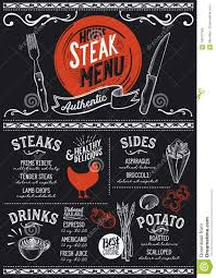 Steak Menu Design Steak Menu Restaurant Food Template Stock Vector