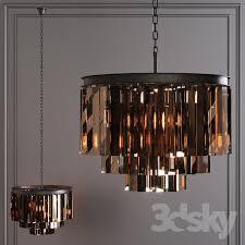 restoration hardware 1920s odeon smoke glass fringe 3 tier chandelier black