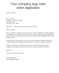 Letter Of Recommendation Template Free Examples Letters Sample For