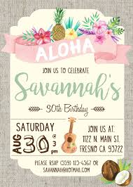 Hawaiian Luau Birthday Party Invitation Invite Watercolor Flowers