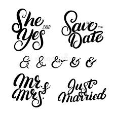 Just Married Quotes Set Of Hand Written Lettering Wedding Quotes Stock Vector 16