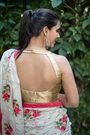 Sleeveless High Neck Blouse Designs House Of Blouse Gold Brocade Halter Neck Blouse Saree