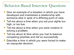 behavioral based interview question behavioral interview questions research paper service