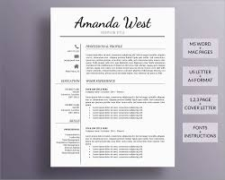 Modern Resume Template For Pages Cv Template For Microsoft