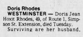 Obituary for Doris Jean Hoxit Rhodes (Aged 49) - Newspapers.com