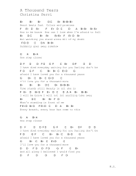 a thousand years piano sheet music a thousand years notes