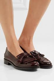 tod s womens fringed glossed leather loafers