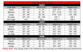 Bauer And Ccm Pant Size Charts