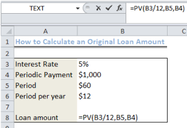 Periodic Payment Formula Excel Formula Calculate Original Loan Amount