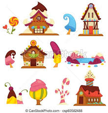 Sweet Candy Houses And Trees Cartoon Vector Icons