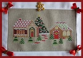 French Cross Stitch Charts Gingerbread Village French Counted Cross Stitch Chart To Stitch With 8 Colours Of Dmc Threads Christmas Village Village Scene