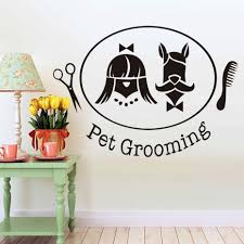 Dog Grooming Room Design Us 7 01 35 Off Pet Shop Pet Grooming Salon Wall Sticker Dog Cat Removable Vinyl Art Decals Scissors Comb Design Home Decor Free Shipping In Wall