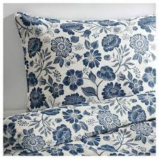 details about ikea duvet quilt cover 100 pure linen angsort botanical blue white fl new