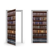 Door Wraps Antique Bookcase Vinyl Sticker For Door